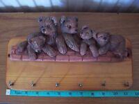 Saltford Design Teddy Bears Pottery And Wood 6 Hooks Coat / Key Hanger - saltford design - ebay.co.uk