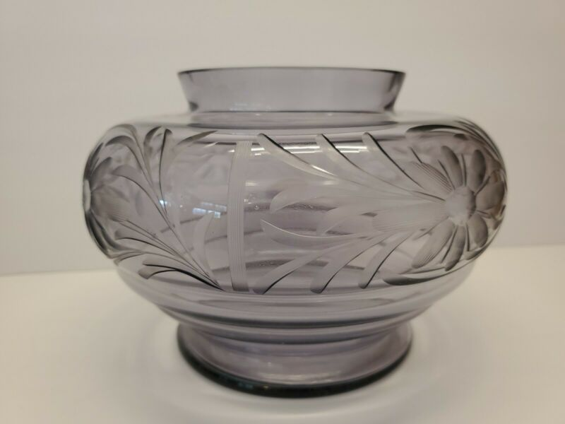 """Amethyst Art Glass Vase with Cut/Etched Flowers - 5.5"""" tall"""