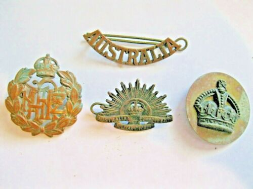AUSTRALIAN MILITARY MEDALS PINS WW1 WW2 LOT OF 4 AWESOME OLD LOT