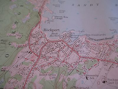 Vintage 1960 Rockport, MA Colored Map - Dept of Public Works - 27 x 22