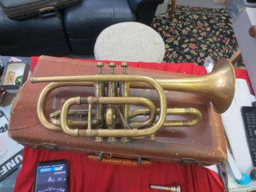 Antique John Heald Company Cornet Trumpet Springfield MA RARE