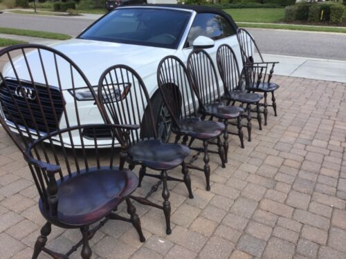 Set of D. R. Dimes country Windsor dining chairs saddle seats SIGNED