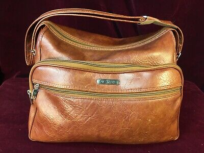 "Vntg Samsonite Silhouette Carry On 15"" Brown Leather Travel Shoulder Bag Luggage"
