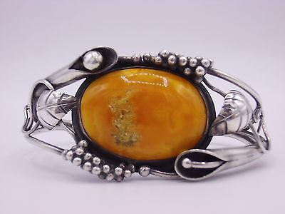 alter Butterscotch Real Amber Armreif Silber 800 punziert