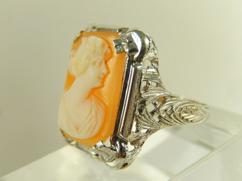 VICTORIAN 10k WHITE Gold Carved Shell CAMEO RING Filigree MINT NOS Sz 5 1/4