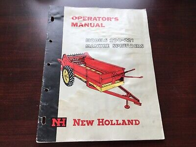 New Holland 200 221 Manure Spreader Operators Manual