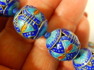 """RARE ANTIQUE CHINESE INTRICATE KINGFISHER BLUE ENAMELED SILVER 16mm 27"""" NECKLACE"""