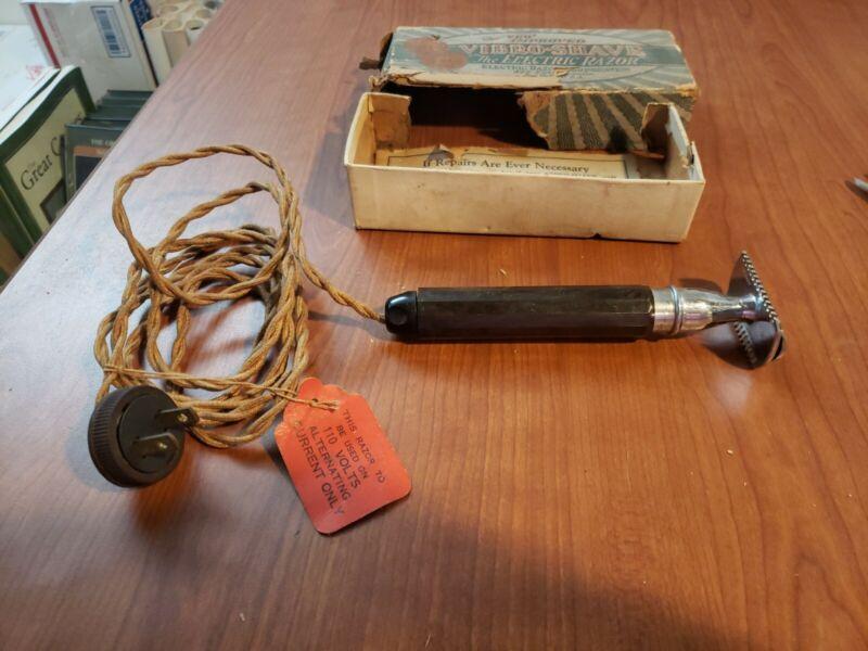 """Vintage bakelite Razor--New Improved """"Vibro-Shave"""" The Electric Razor-Orig. Box"""