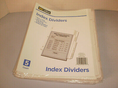 5 Packs Of 5 Dg Office White Index Dividers For Ring Binders  New 072020