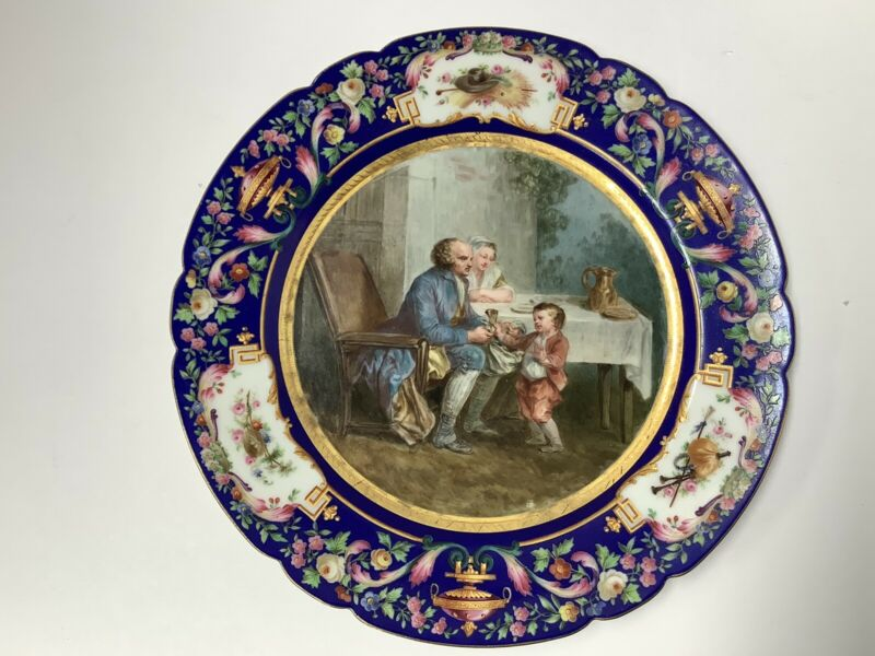 "Signed Boyer Paris Porcelain Cabinet Plate. Handpainted. 9 1/2"" Diameter. France"