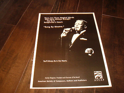 """FRANK SINATRA 50th Year ad 1992 """"Sung By Sinatra You'll Always Be In Our Hearts"""""""