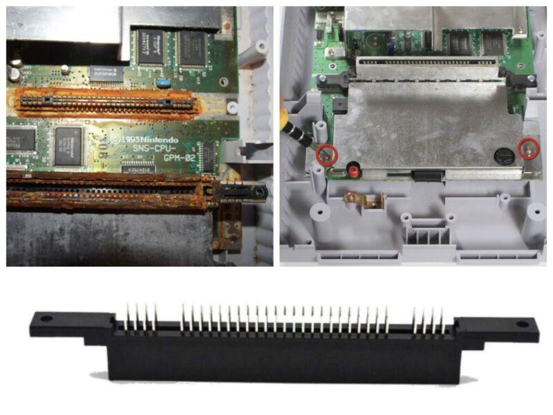 Super Nintendo SNES Replacement Cartridge 62 Pin Connector Parts Slot Cartridge