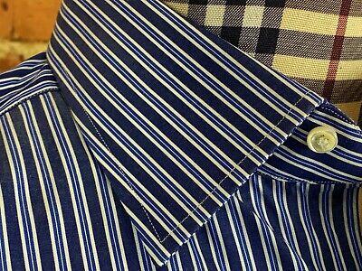 ALESSANDRO GHERARDI Dress Shirt, 17.5 x 37, Blue White Stripes, NEIMAN MARCUS