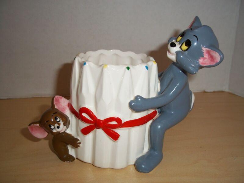 RARE Vintage 1981 MGM Tom & Jerry Figural Pencil Holder - Gorham Gift Porcelain