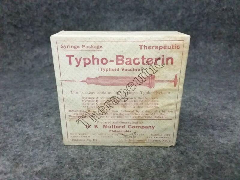 1912 H.K. Mulford Co. Wooden Medicine Pharmaceutical Syringe Box Tyfoid Bacterin