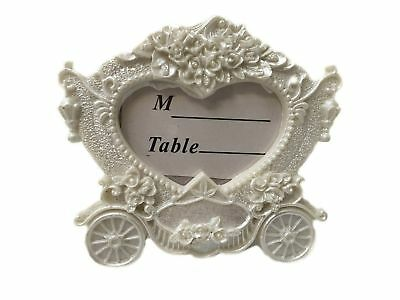 CraftbuddyUS Carriage White Vintage Wedding Place Card Holder Frame,3D Style Pic