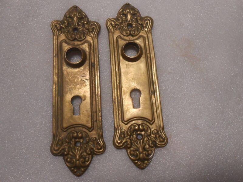 "Pair of Brass Skeleton Key Back Plate Escutcheon Door Plate 7"" Renovators Supply"