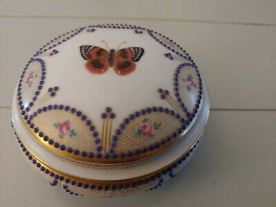 Limoges M. Raynaud Round Lidded Trinket Box, Pink Roses/Butterfly Intricate RARE