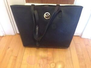 Black Hard Leather Michael Kors Beach / Laptop Bag