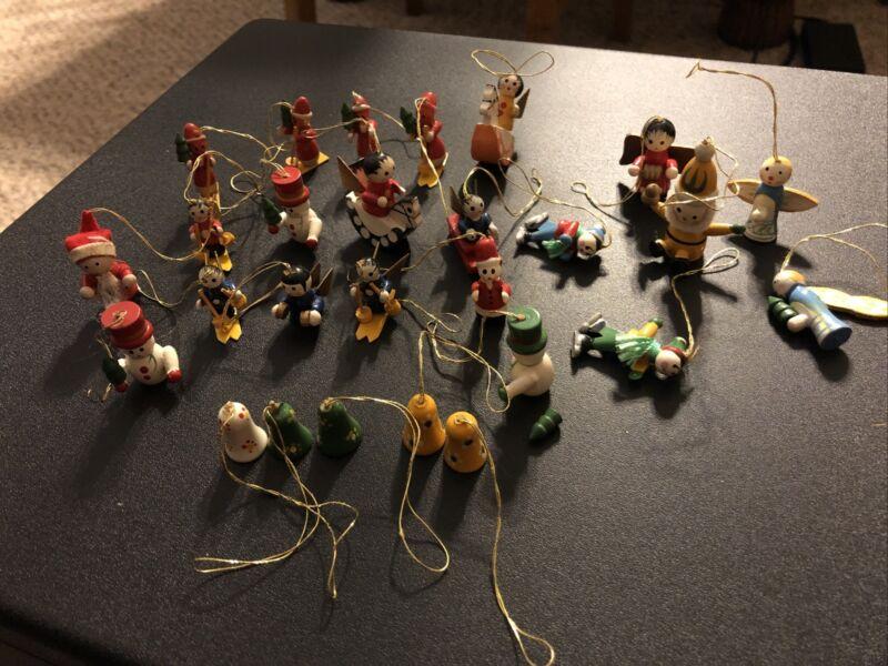 Lot Tiny Miniature Painted Wood Christmas Tree Ornaments Figures Vintage Decor