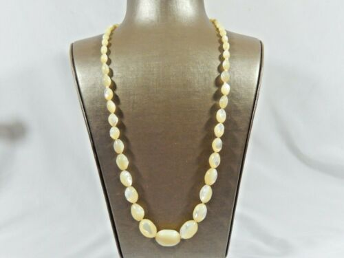 """ART DECO KNOTTED CARVED MOTHER OF PEARL GRADUATED 30"""" STERLING CLASP NECKLACE"""