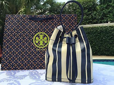 TORY BURCH PRINTED LEATHER MINI BUCKET BAG BLUE PARCHMENT STRIPE NWT $550
