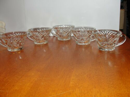 Vintage Set Lot of 5 CRYSTAL OATS Oatmeal Glass Coffee Tea Cups Pineapple