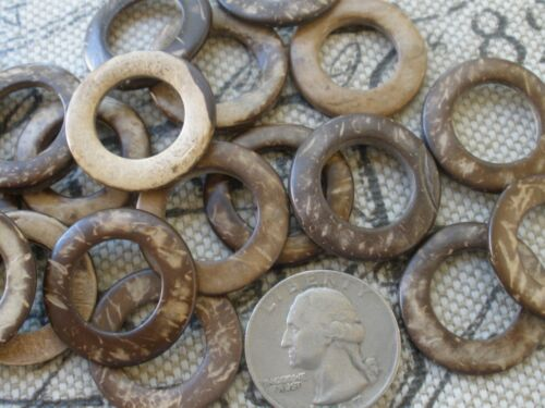 "48pc Real Coconut Shell 1"" spacer rings 15mm ID / 25mm OD Round 5/8"" opening"