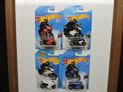 Hot Wheels Ducati 1199 Panigale Motorcycle Lot of 4 - Red White Blue & Black