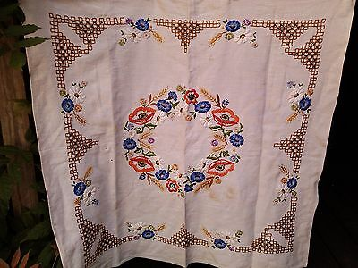 """vintage cotton embroidered crewel floral square table cloth 33 x 35 """""""