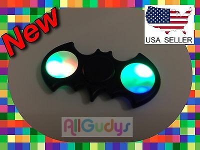 LED Light UP Batman Black Fidget Hand Spinner Stress Reduce Finger Game Desk Toy