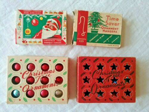 Vtg Lot of 4 Boxes Christmas Tree Small Colored Ball Ornaments & Hangers  L5