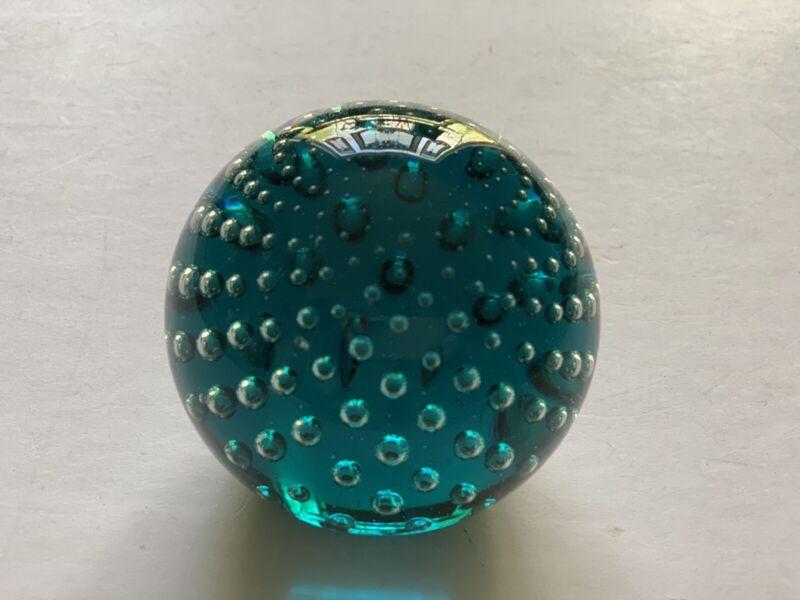 "Glass Eye Studio Green Paperweight 2 1/2"" Tall Washington State Control Bubble"