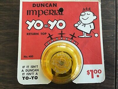 Old Duncan Imperial No. 400 Yellow Yo Yo With Original Hang Card Great Graphics