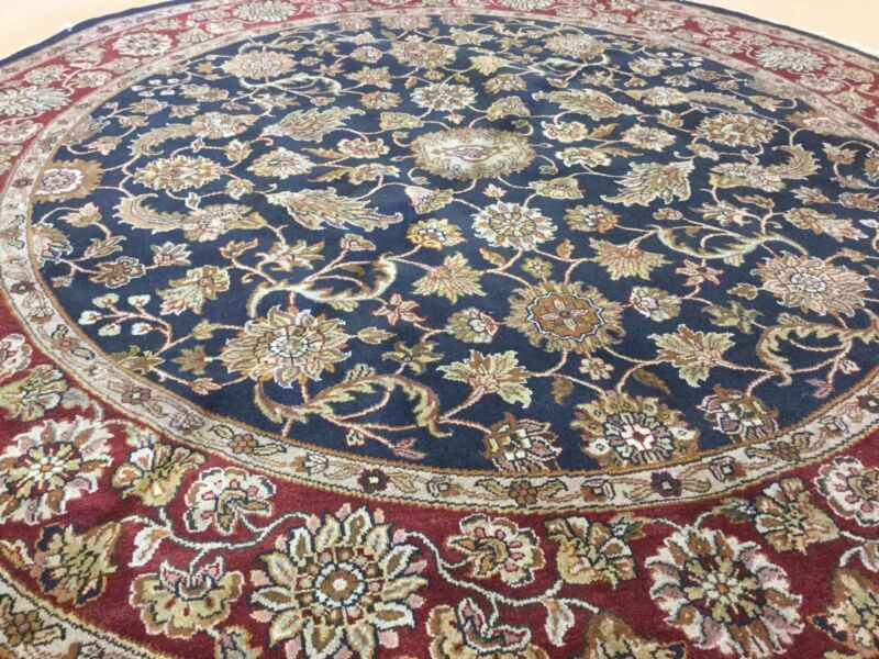 9 X 9 Round Blue Red Agra Persian Oriental Area Rug Fine Hand Knotted Wool Foyer