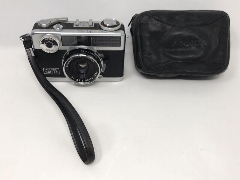 Untested - Fujica Half Frame 1.9 Camera w/ Case - For Parts or Repair