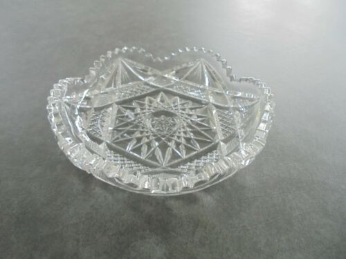 "Cut Glass 6"" Wide Nappy Trinket Bowl Nut Bowl Candy Dish"
