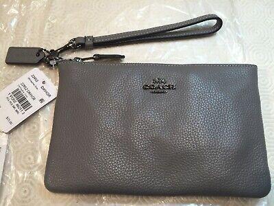 Coach Grey Pebble Leather Smartphone Wristlet Bag Purse Zip rrp $75