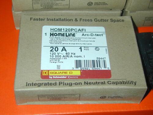 10  X Square D  HOM120PCAFI 1 P 20 A  Plug In  Arc Fault Circuit Breaker