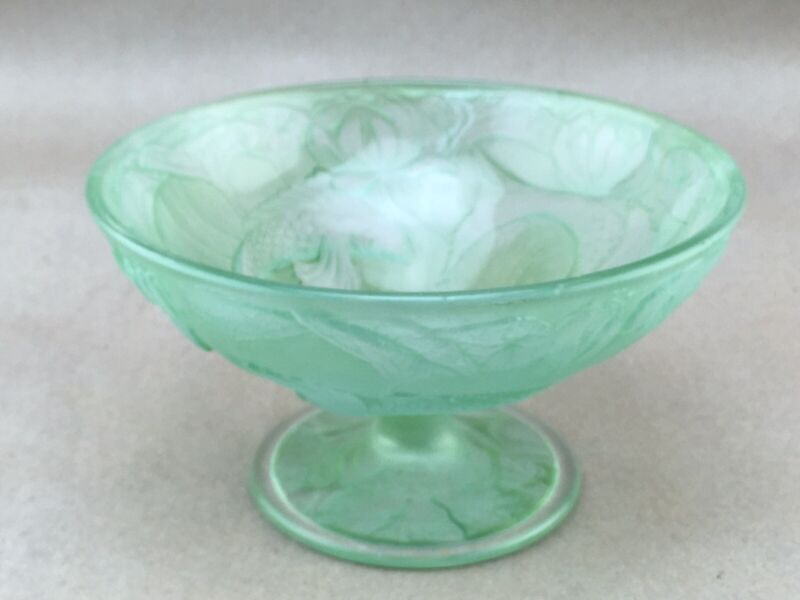 """Vintage Consolidated Glass Koi Fish Water Lily 6"""" Footed Dish or Compote"""