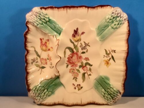 Antique Majolica Asparagus and Flowers Plate French c.1800s