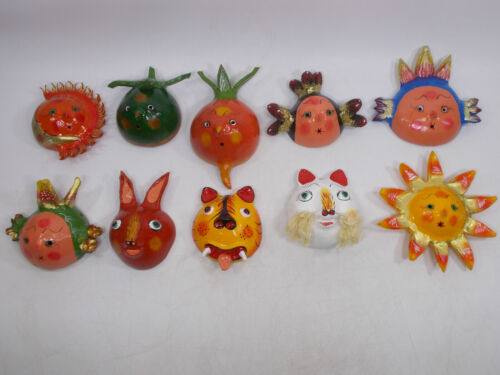SET of 10 MASKS COLLECTION painted coconut shell mexican handmade wholesale lot