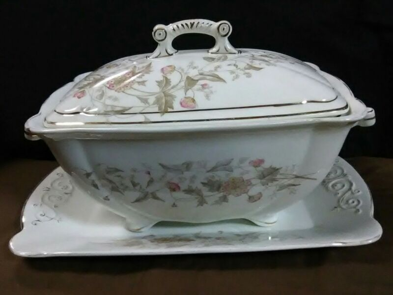 (Rare) Antique Adamantine China Pink/Brown Florals Tureen w/lid + Under plate