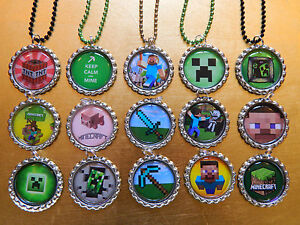 15 MINECRAFT Bottle Cap NECKLACE Party Favors W/ Colored Chains NEW! CREEPER