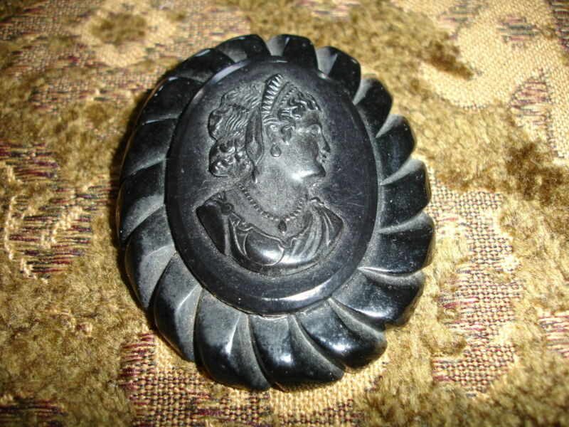 gutta percha mourning brooch