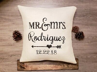 Personalized off white burlap Mr and Mrs date name pillow cover, custom colors - Mr And Mrs Pillow