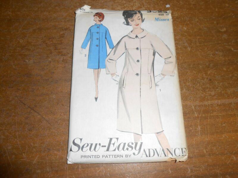 Vintage 1950s Advance Sewing Pattern 3023 Misses Coat Size 10