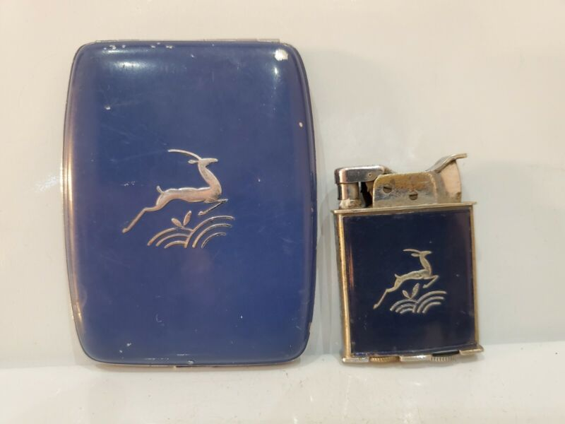 Vintage WORKING Evans Cigarette Case & LIGHTER Enameled Gazelle Motif 3438.16