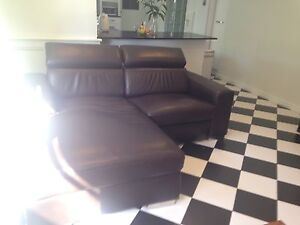 Real leather lounge with recliner brown Glenunga Burnside Area Preview