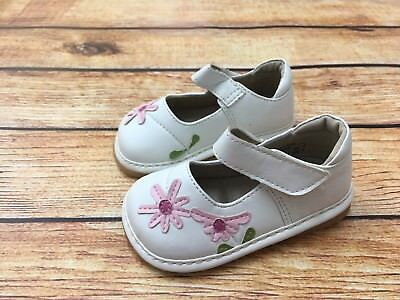 Girl's Squeaky Shoes White Mary Janes with  Pink flower 1008 Spring Easter Shoes (Girls Easter Shoes)